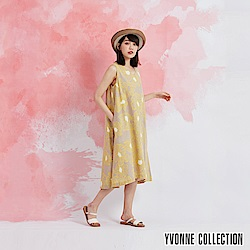 YVONNE 棉麻花卉V領無袖洋裝-黃
