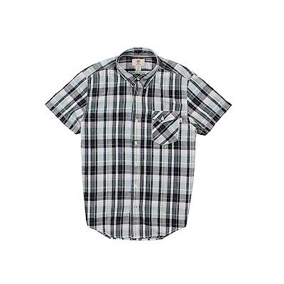 Timberland 男款藍綠格紋棉麻混紡短袖襯衫 | A1M3CB68