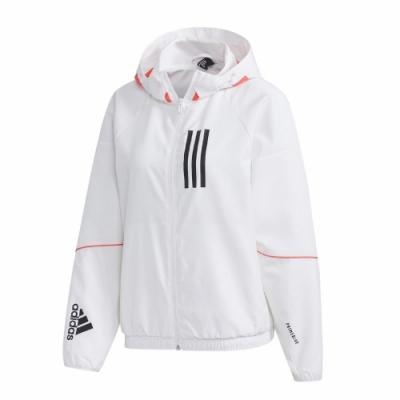 adidas 外套 W.N.D. Jacket 運動休閒 女款 愛迪達 三線 防風 風衣外套 連帽 穿搭 白 粉 GF0131