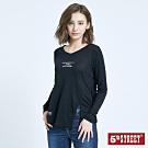 5th STREET 開衩輕薄V領 長袖T恤-女-黑色