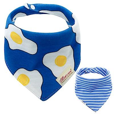 Baby unicorn 寶藍荷包蛋純棉雙面圍兜