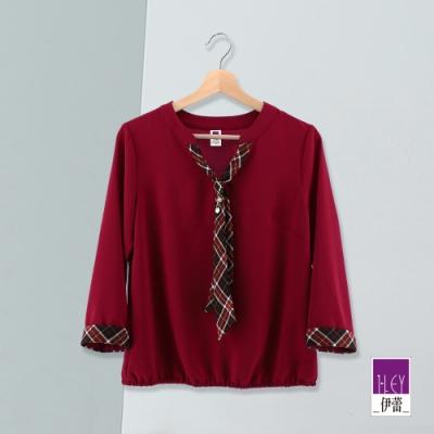 ILEY伊蕾 配色格紋領巾上衣(紅/磚)