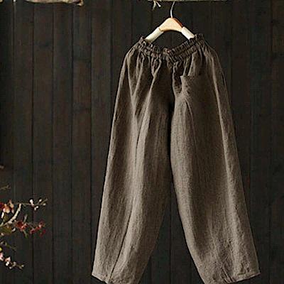 花瓣鬆緊腰亞麻寬管褲寬鬆休閒棉麻九分褲-設計所在