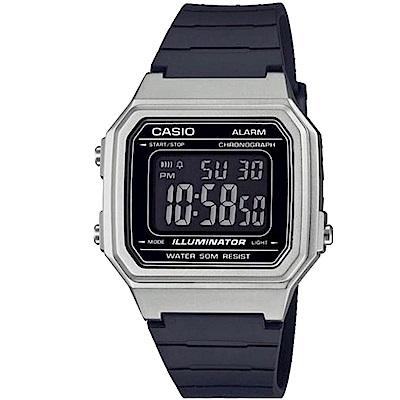 CASIO 復古風金屬感設計數位電子腕錶(W-217HM-7B)銀框/41mm
