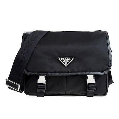 PRADA 經典三角鐵牌簡約設計尼龍雙釦斜背/肩揹包 (黑色)