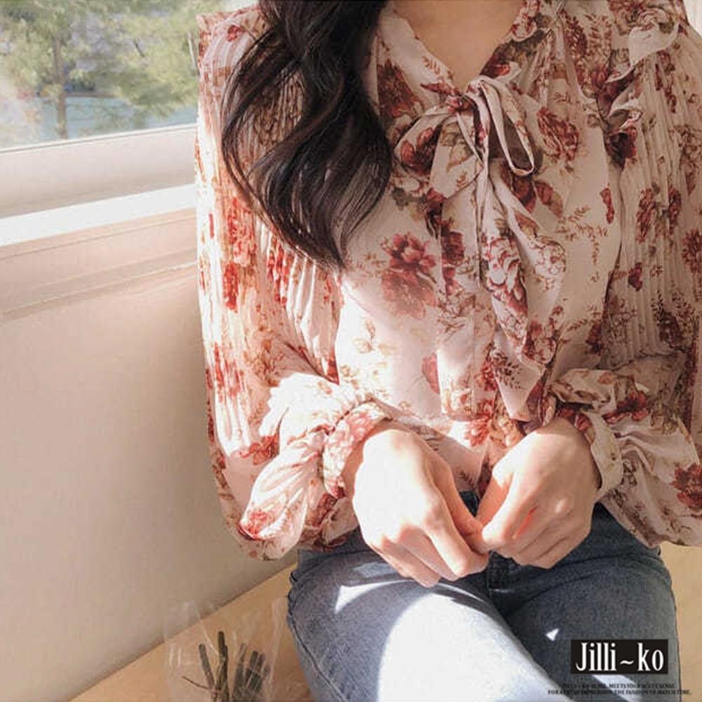 JILLI-KO 韓版浪漫甜美打結雪紡衫- 粉紅 (粉紅色系)