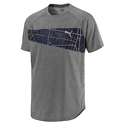 PUMA-男性慢跑系列圖樣短袖T恤-中麻灰-歐規