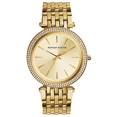 HANNAH MARTIN 點睛品雙圈鑲鑽不鏽鋼腕錶(HM-1185-G)金x40mm
