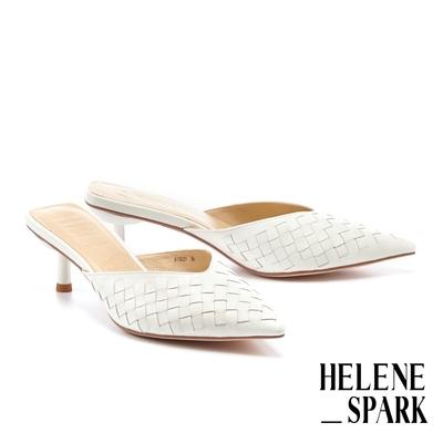 穆勒鞋 HELENE SPARK 時髦質感編織全羊皮尖頭高跟穆勒拖鞋-白