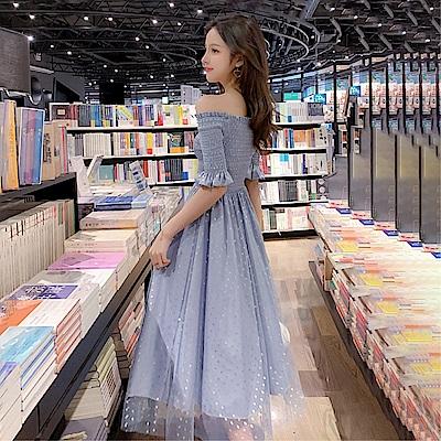 DABI 韓系一字領露肩閃閃圓點淑女網紗短袖洋裝