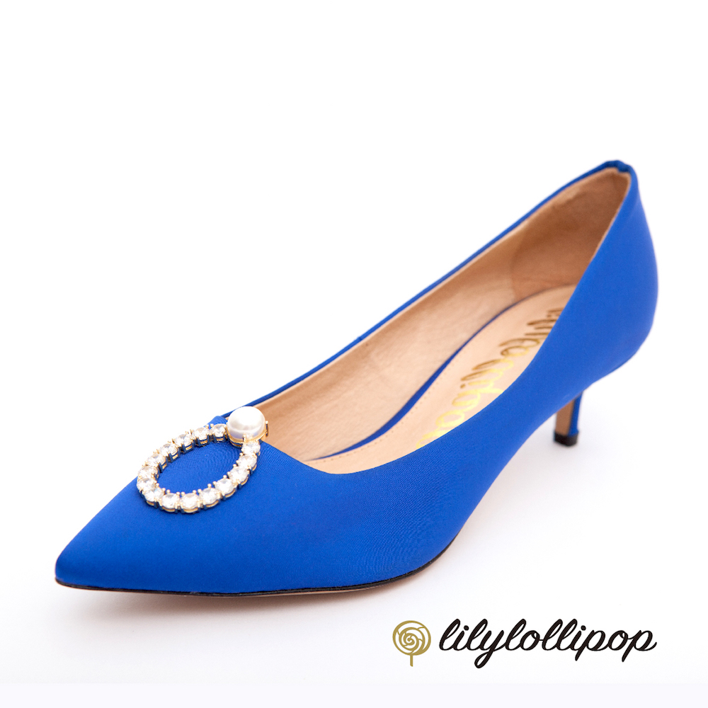 Lilylollipop-Luxury 珍珠環緞面跟鞋--寶藍色 @ Y!購物