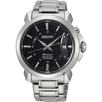 SEIKO 精工 Premier 紳士萬年曆手錶-銀/41.5mm (SNQ159J1)