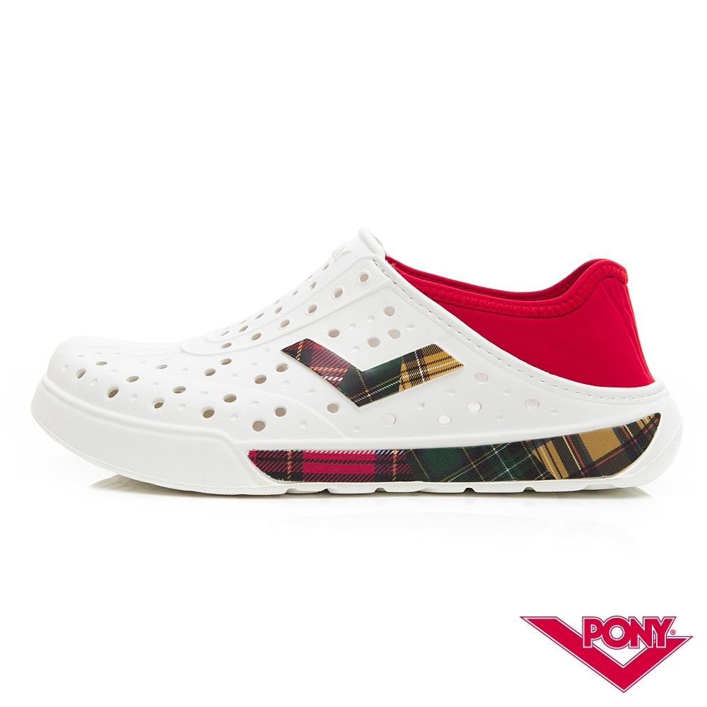 【PONY】ENJOY懶人後跟輕量透氣兩用洞洞鞋 拖鞋 雨鞋 男女 格紋拼接白