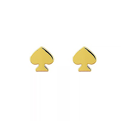kate spade經典簡約黑桃設計穿式耳環(金)