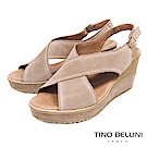 Tino Bellini 西班牙進口寬帶交叉魚口楔型涼鞋 _ 駝
