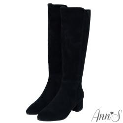 Ann'S防水絨布粗跟及膝長靴