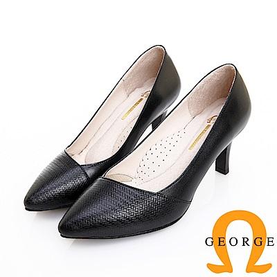 GEORGE 喬治皮鞋 職場通勤 柔軟羊皮質感斜壓紋中跟鞋 -黑