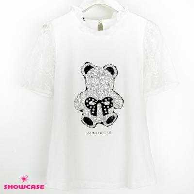 【SHOWCASE】亮片縫珠小熊蕾絲袖上衣(白)