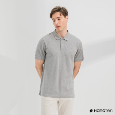 Hang Ten-男裝-腳丫短袖POLO衫-灰色