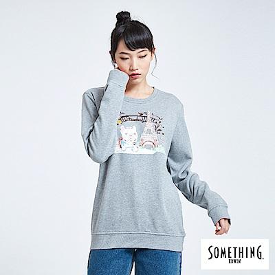 買一送一 BONBON法鬥哥 巴黎下午茶 厚長袖T恤-女-灰色