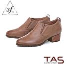 TAS復古素面擦色粗跟踝靴-個性棕