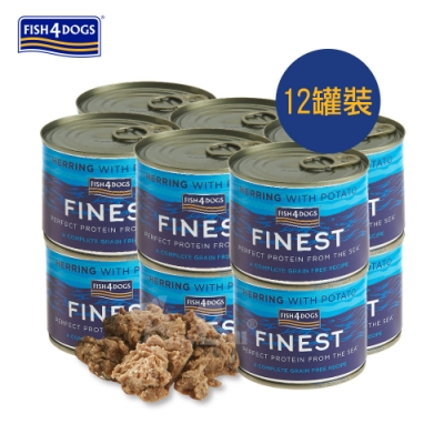 海洋之星FISH4DOGS 挪威鯡魚主食犬罐185g  12罐裝