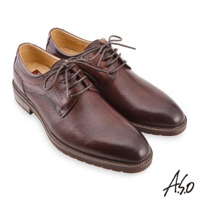 A.S.O 職場通勤 職人通勤刷色壓紋德比鞋-咖啡