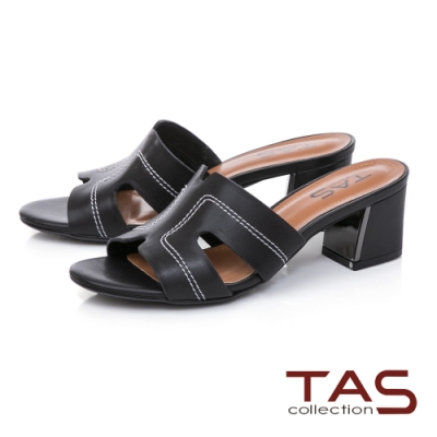 TAS鏤空剪裁粗跟涼拖鞋-質感黑