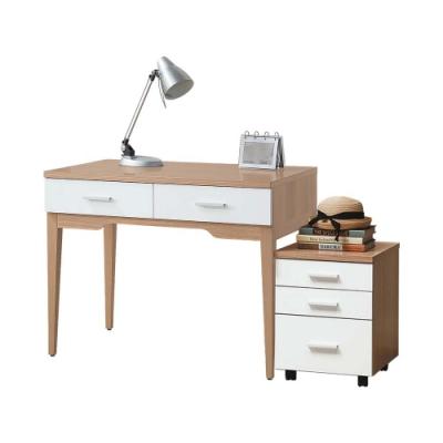 柏蒂家居-維也納3.3尺二抽書桌/工作桌櫃組-140x60x79cm