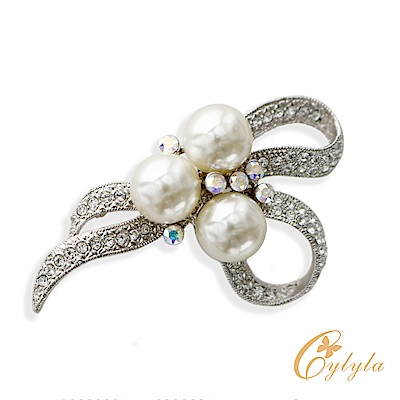 Cylyla思琳娜 施華洛世奇元素高雅白珍珠胸針別針B10853G