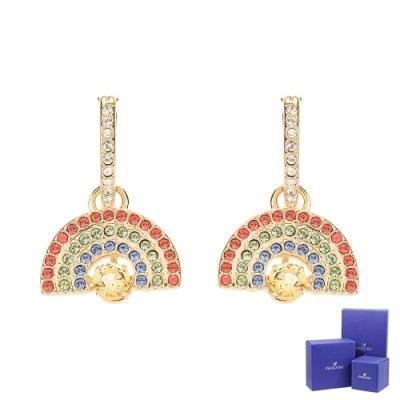 SWAROVSKI 施華洛世奇 Sparkling Dance璀璨水晶彩虹造型金色垂墜耳環