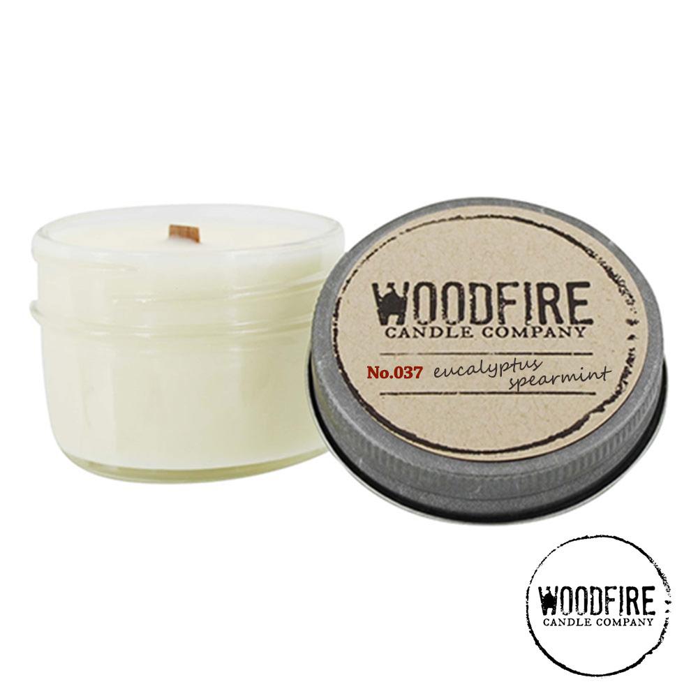 美國 WOODFIRE 復古純手工木芯香氛 NO.037 尤加利薄荷 鋁蓋玻璃罐 113g