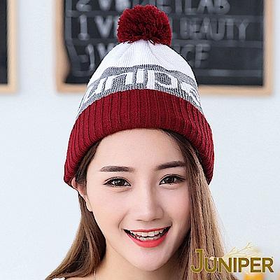 JUNIPER 男女提花禦寒防風雙層針織帽時尚滑雪毛線帽