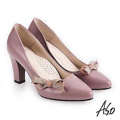 A.S.O 百變女伶 健步通勤蝴蝶裝飾高跟鞋 淺紫