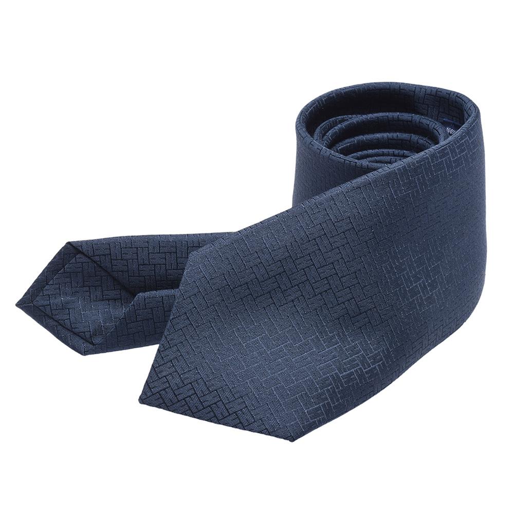 HERMES 經典Faconnee H 24系列H LOGO緹花圖案純絲領帶(油墨藍)