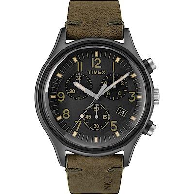 TIMEX 天美時 MK1 Chrono系列 三眼計時潮流軍錶-黑x橄欖綠-42mm