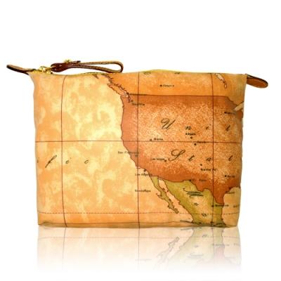 Alviero Martini 義大利地圖包 尼龍拉鍊收納化妝包(中)-地圖黃