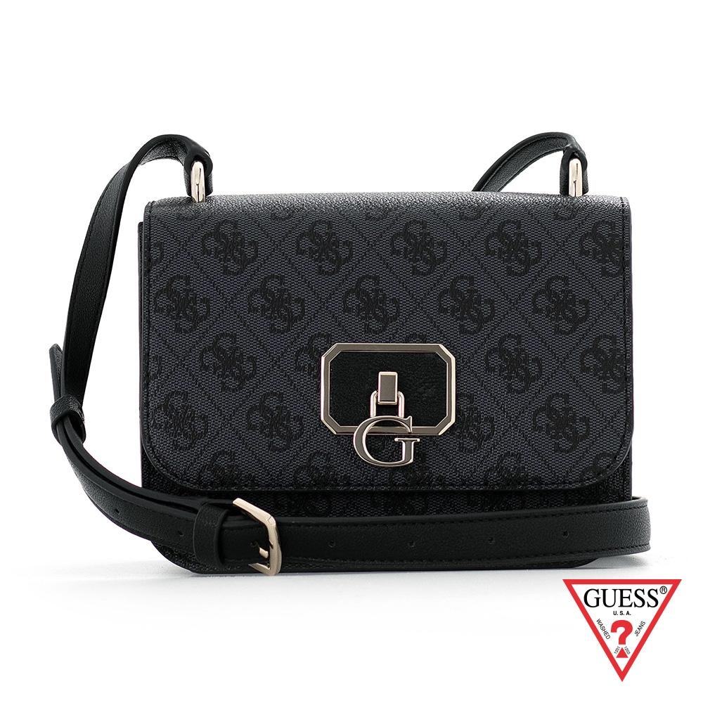 GUESS-女包-時尚印花金屬LOGO斜背包-黑 原價2290