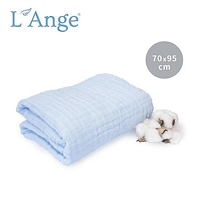 L Ange 棉之境 6層純棉紗布浴巾/蓋毯 70x95cm-藍色 @ Y!購物