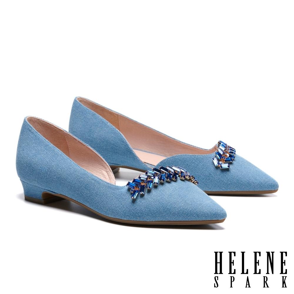 低跟鞋 HELENE SPARK 氣質高雅方型晶鑽造型尖頭低跟鞋-藍