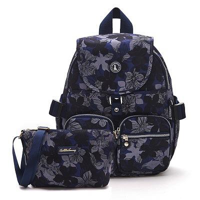 B.S.D.S冰山袋鼠-楓糖瑪芝x經典大容量時尚後背包+側背小包2件組 - 花繪風