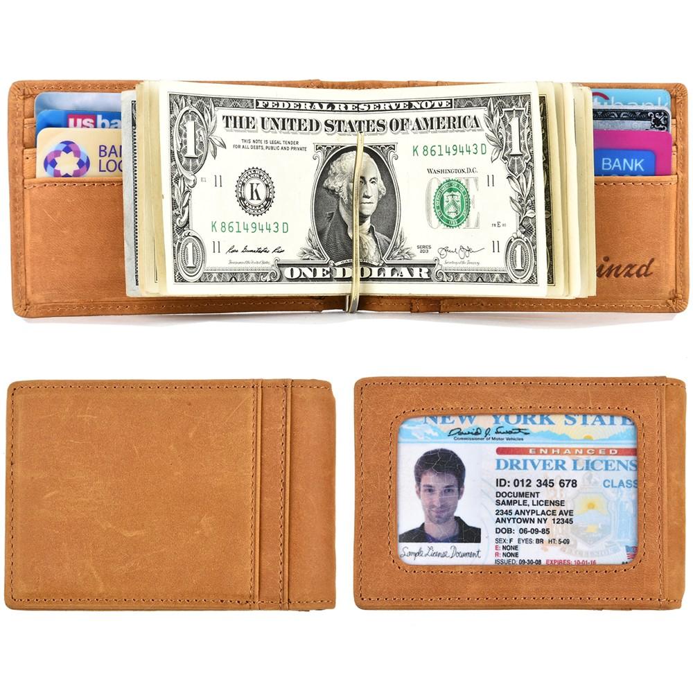 《Kinzd》真皮證件鈔票短夾(黃)