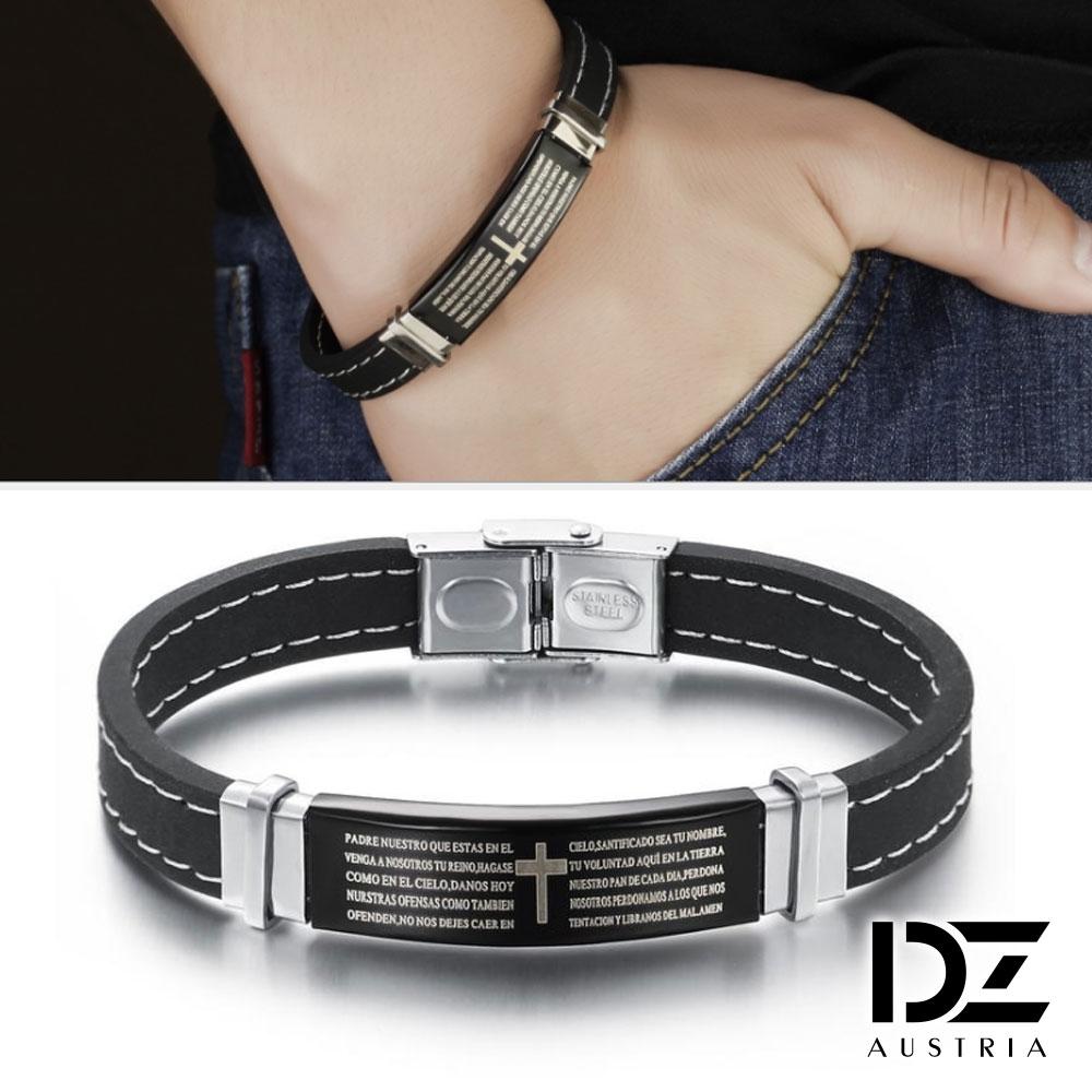 DZ 十字印紋 316L白鋼矽膠手環手鍊(黑飾系)