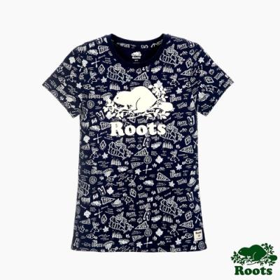 女裝Roots 滿版塗鴉短袖T恤-藍色