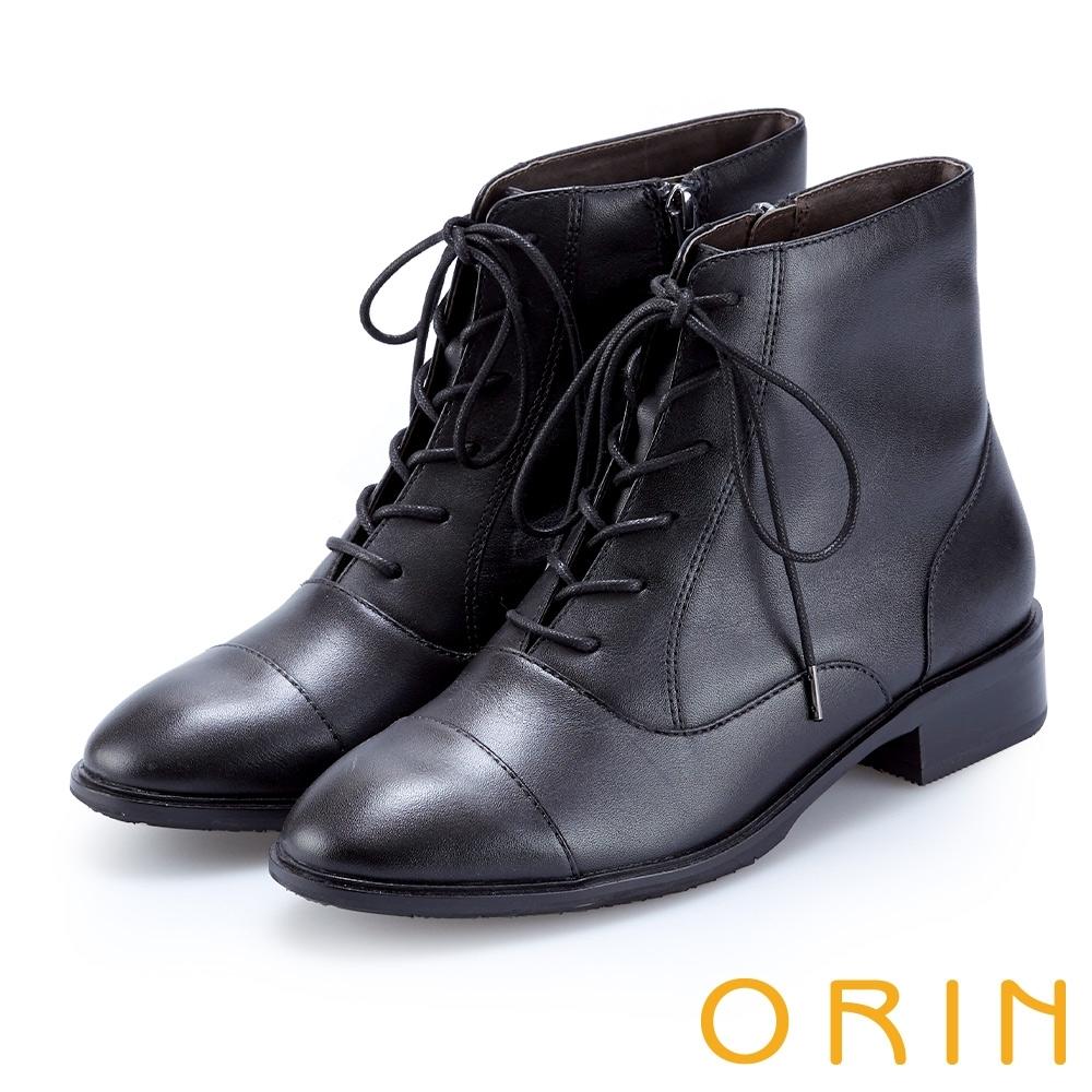 ORIN 英倫時尚 質感牛皮綁帶短靴-黑色