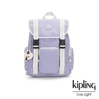 Kipling法式丁香紫插扣束口掀蓋式後背包-IZIR