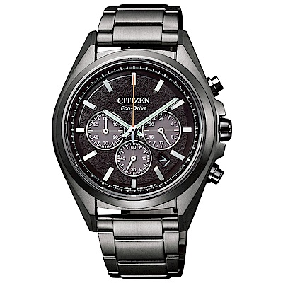 CITIZEN 星辰光動能鈦金三眼計時手錶(CA4394-54E)-黑/41mm
