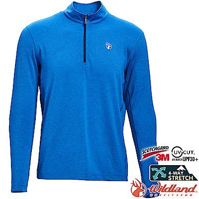 Wildland 荒野 0A71638-77中藍色 男彈性抗UV拉鍊長袖上衣