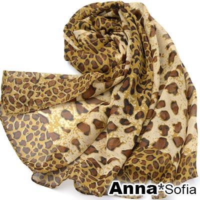 AnnaSofia 框邊豹紋 雪紡圍巾長絲巾(黃咖系)
