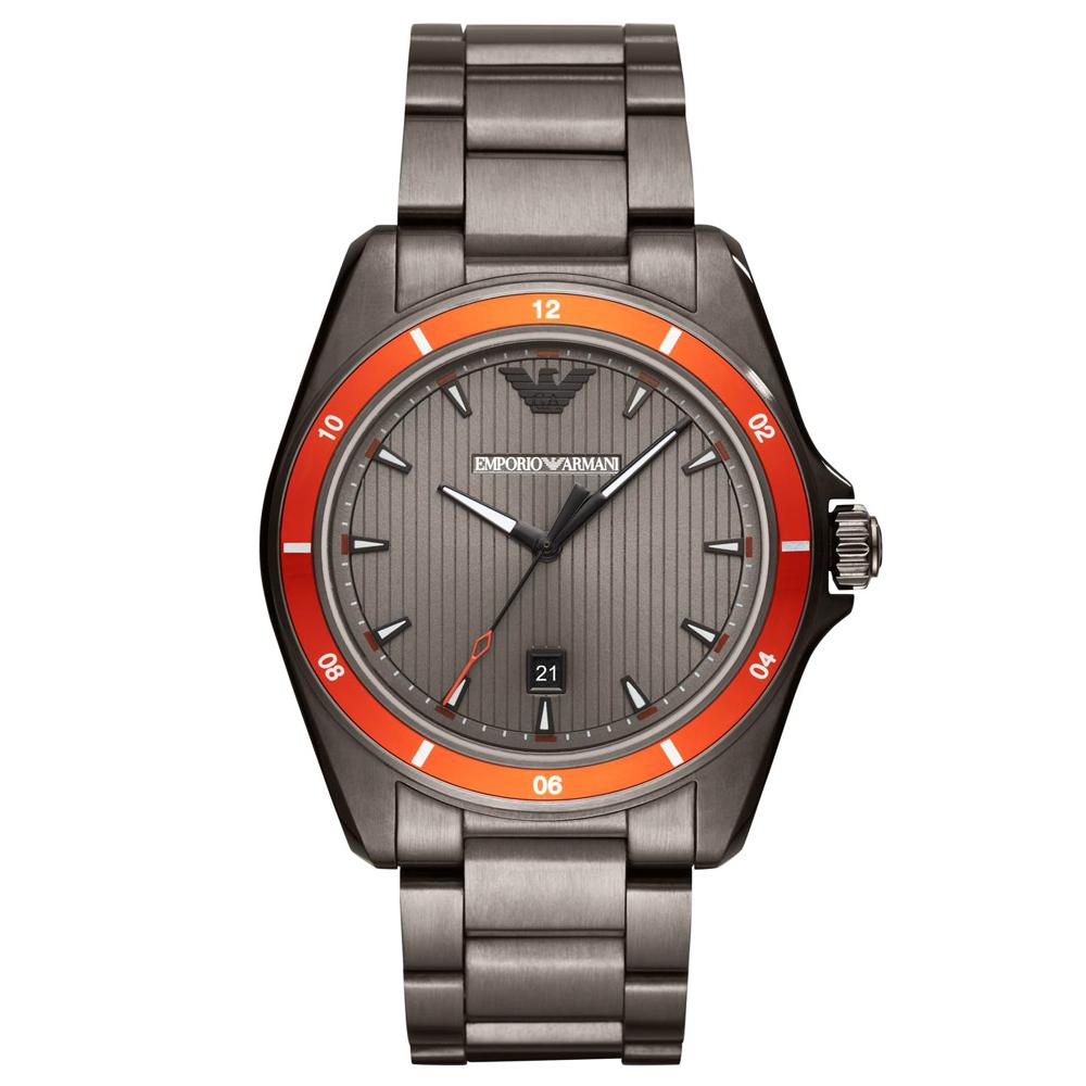 Emporio Armani 自信風範時尚手錶(AR11178)-灰X橘/44mm